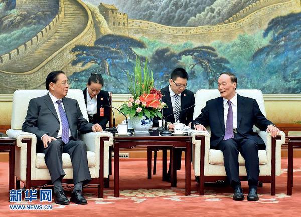 王岐山会见老挝人民革命党中央总书记、国家主席朱马里