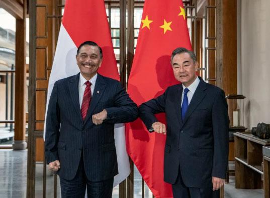 王毅同印尼总统特使卢胡特举行会谈