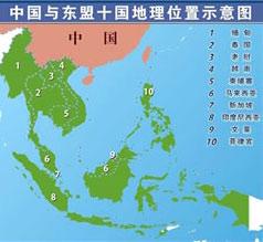 中國與東盟十國地理位置示意圖